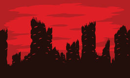 Apocalypse City Ruins Sunset Background Stock Illustration.