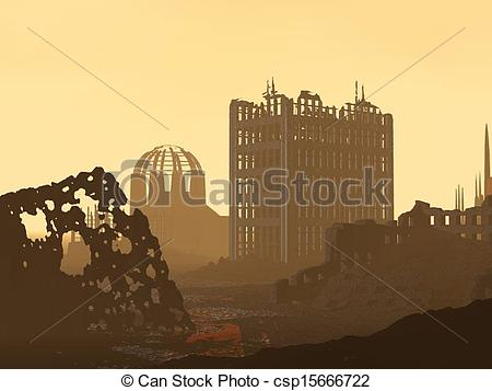 Clip Art of Ruined City.
