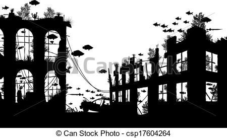 Clip Art City In Ruin Clipart.