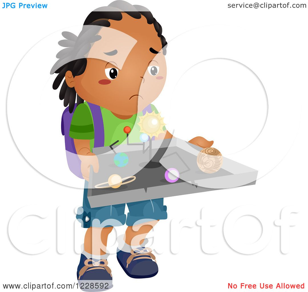 Clipart of a Sad African American Boy Carrying a Ruined Science.