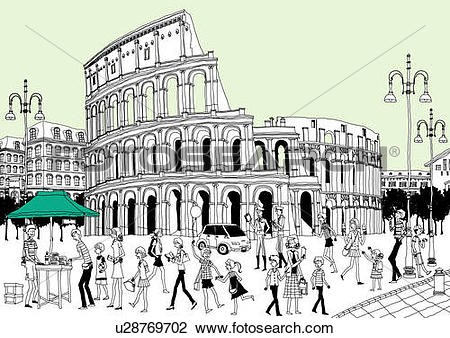 Clip Art of Tourists by ruined building u28769702.