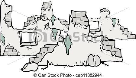 EPS Vector of Cartoon ruins.