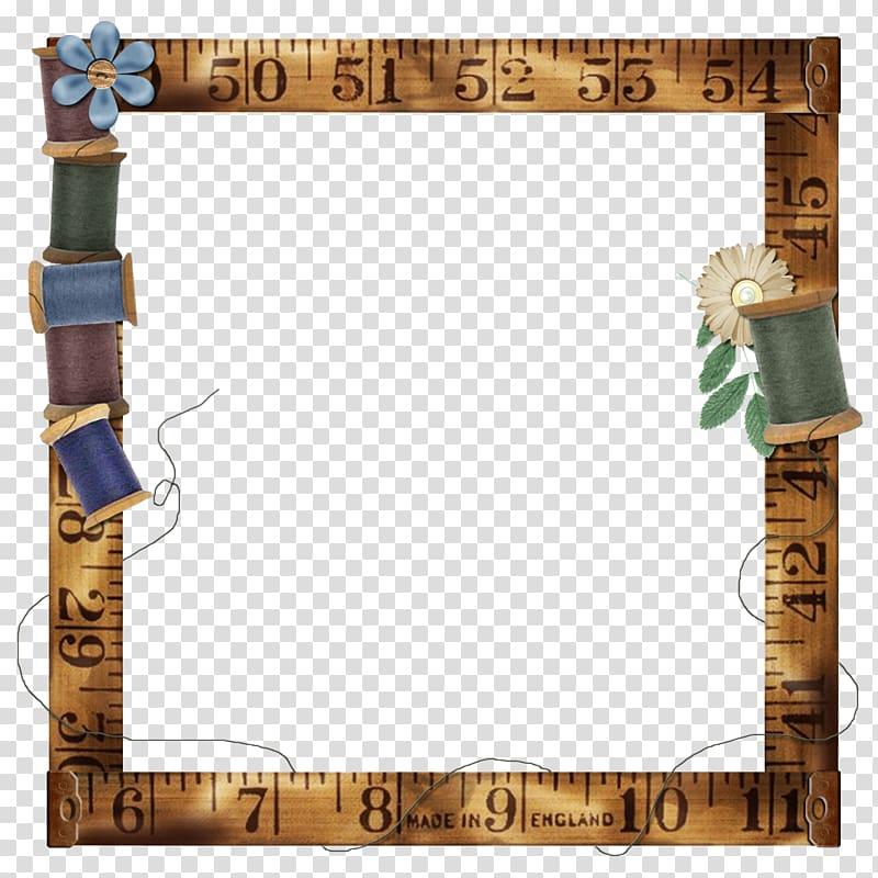 Brown ruler border illustration, Paper Frames Scrapbooking.