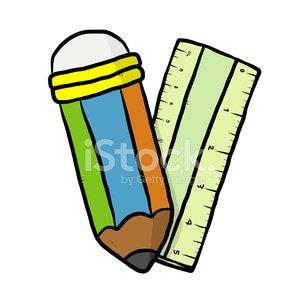 Pencil and Ruler Cartoon premium clipart.