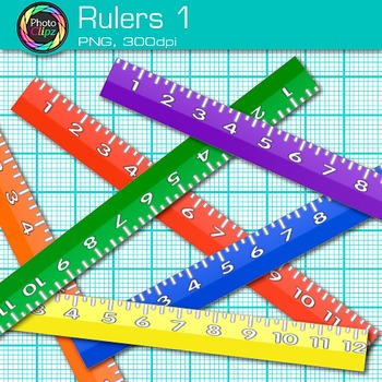 Ruler Clip Art {Rainbow Measurement Tool Graphics for Math Resources} 1.