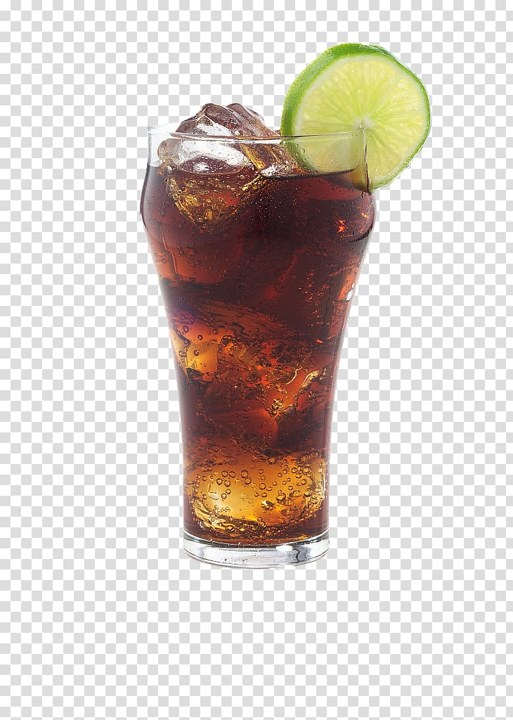 Ice tea on glass, Soft drink Rum and Coke Coca.