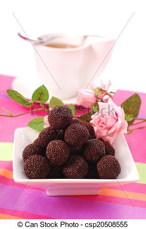 Stock Images of chocolate rum balls.