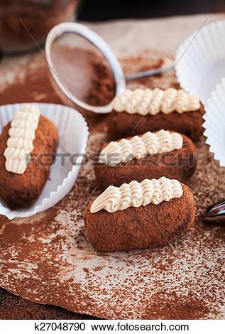 Stock Photography of Chocolate truffle rum balls cakes k27048790.