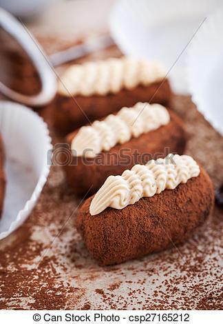 Stock Photography of Chocolate truffle rum balls cakes.