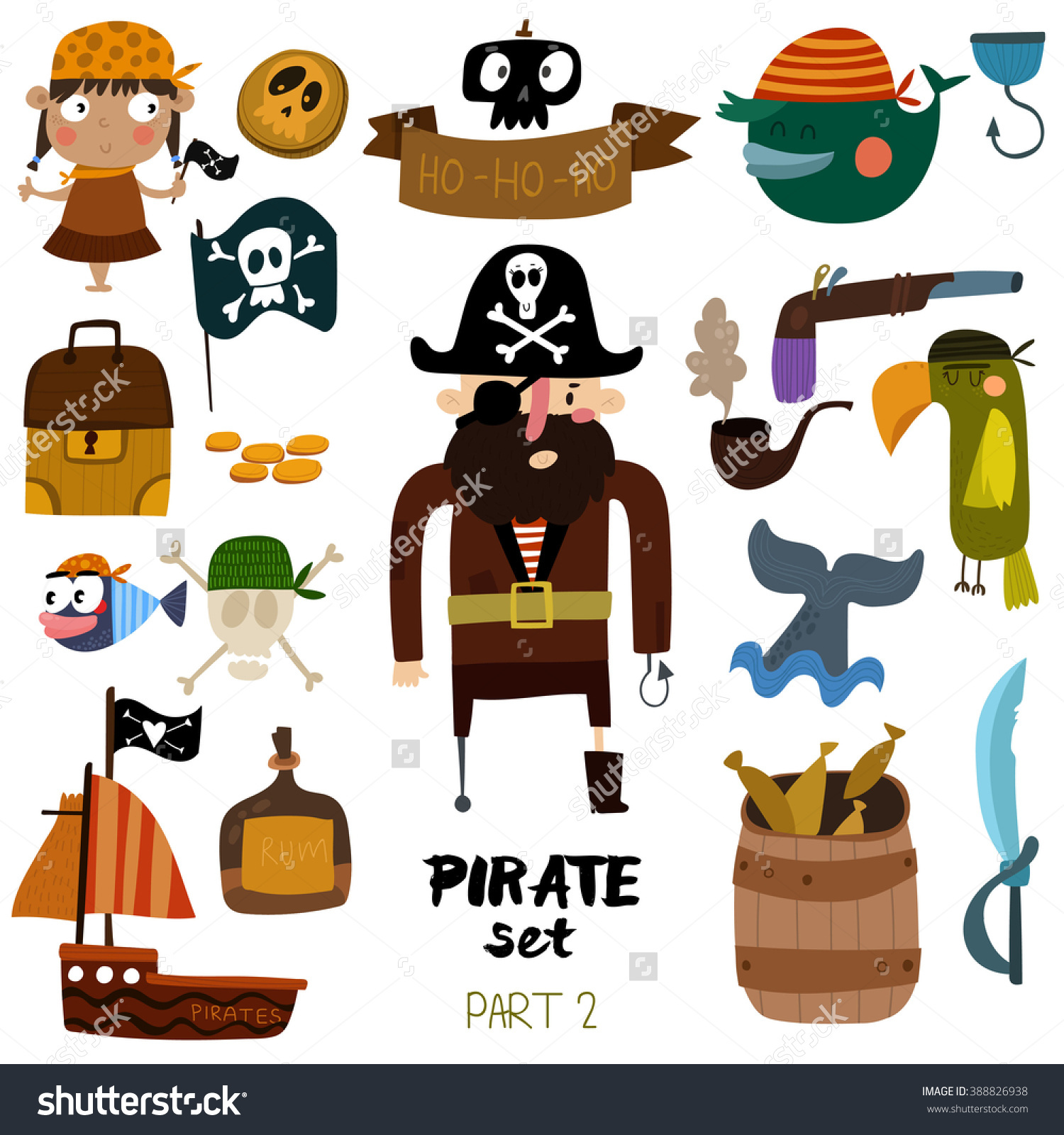 Vector Set Pirate Items Pirate Ship Stock Vector 388826938.