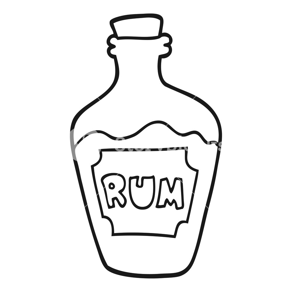 freehand drawn black and white cartoon rum bottle Royalty.