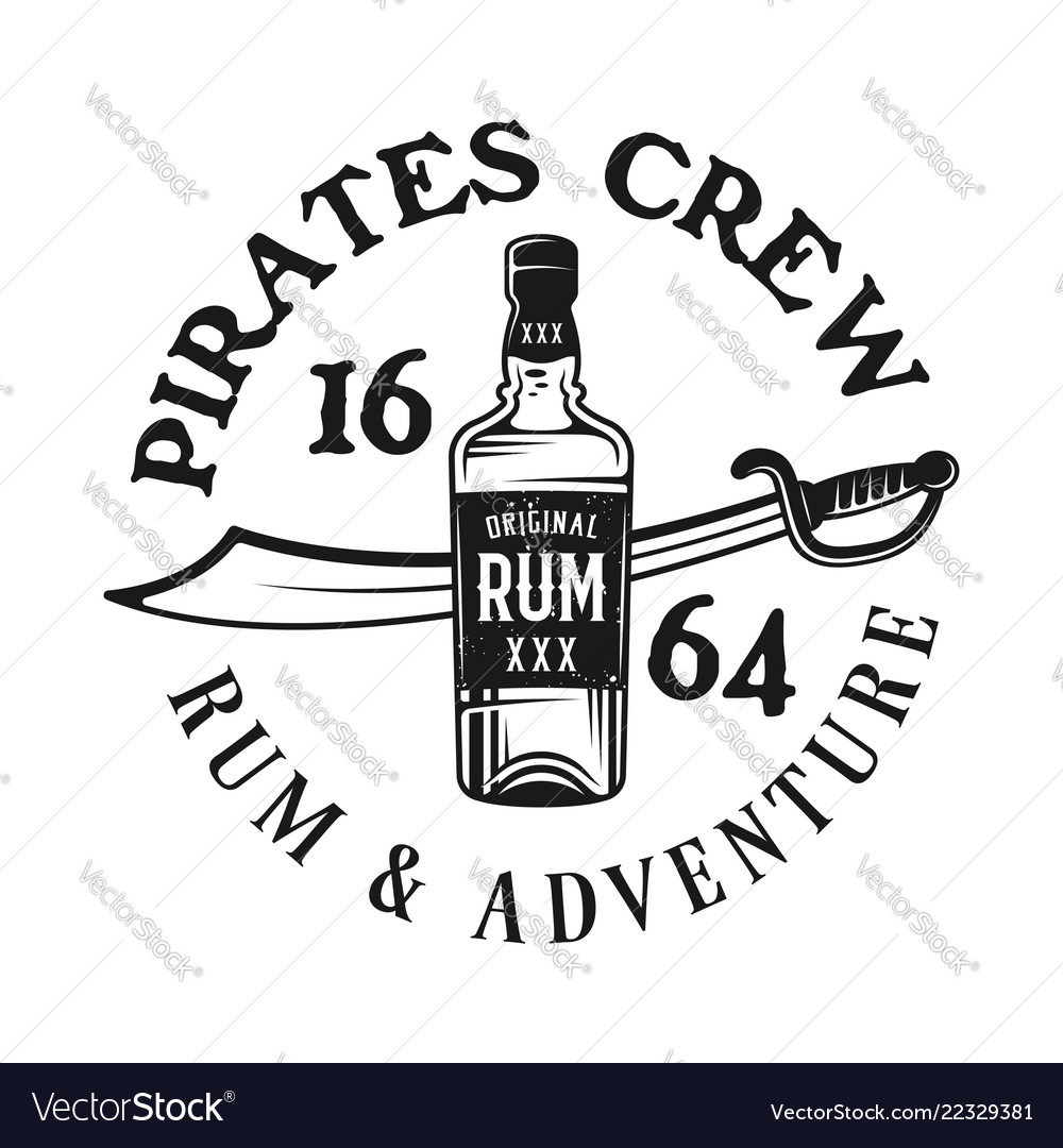 Bottle of rum and saber pirate emblem vector image.