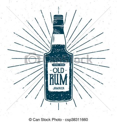 Retro rum bottle label design. Vintage alcohol badge, typography poster for  tee , printing t.