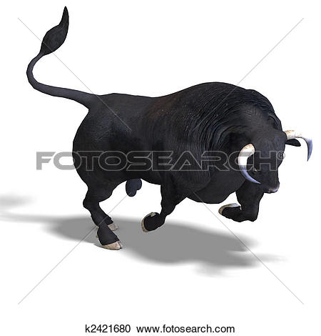 Stock Illustration of black bull is ready for the fight k2301926.