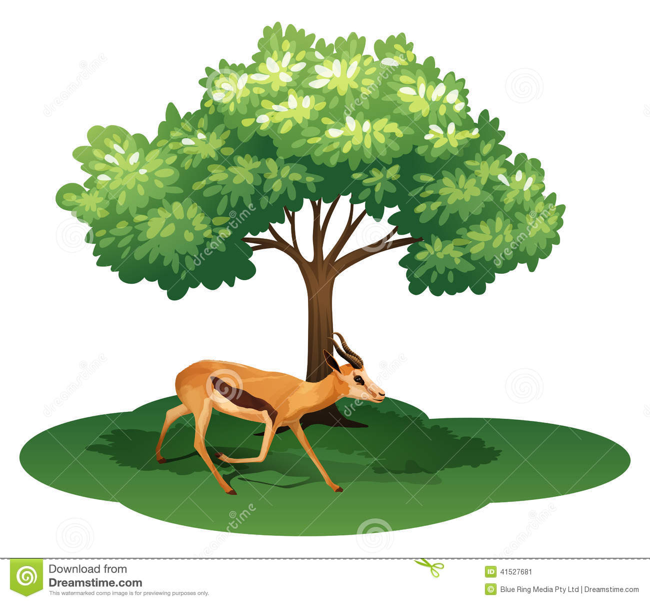 A Deer Under The Tree Stock Vector.