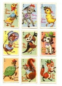 Vintage Animal Rummy Card Game Digital Collage.
