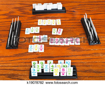 Stock Photo of playing area of rummy card game k19078782.