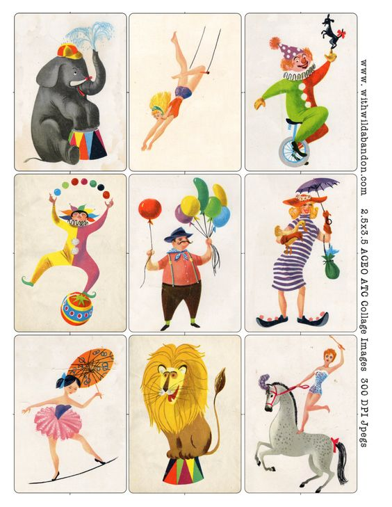 Circus Clipart and Digital Collage Sheets, Vintage Rummy Circus.