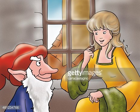 Rumpelstiltskin and the beautiful princess Clipart Image.