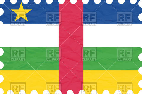 Central african republic flag with texture of rumpled paper Vector.