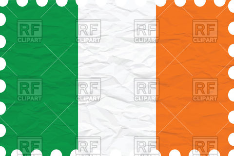 Ireland flag with texture of rumpled paper Vector Image #101172.