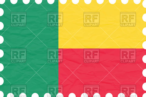 Benin flag with texture of rumpled paper Vector Image #100822.