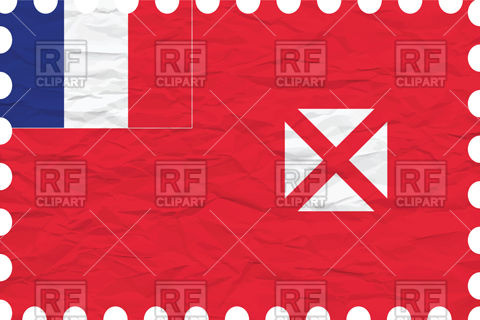 Wallis and futuna flag with texture of rumpled paper Vector Image.