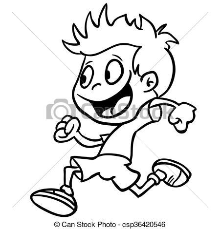 Boy running clipart black and white » Clipart Portal.