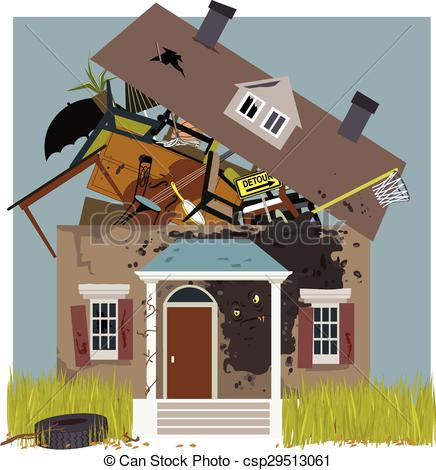 Clip Art Vector of Mold on a rundown house.