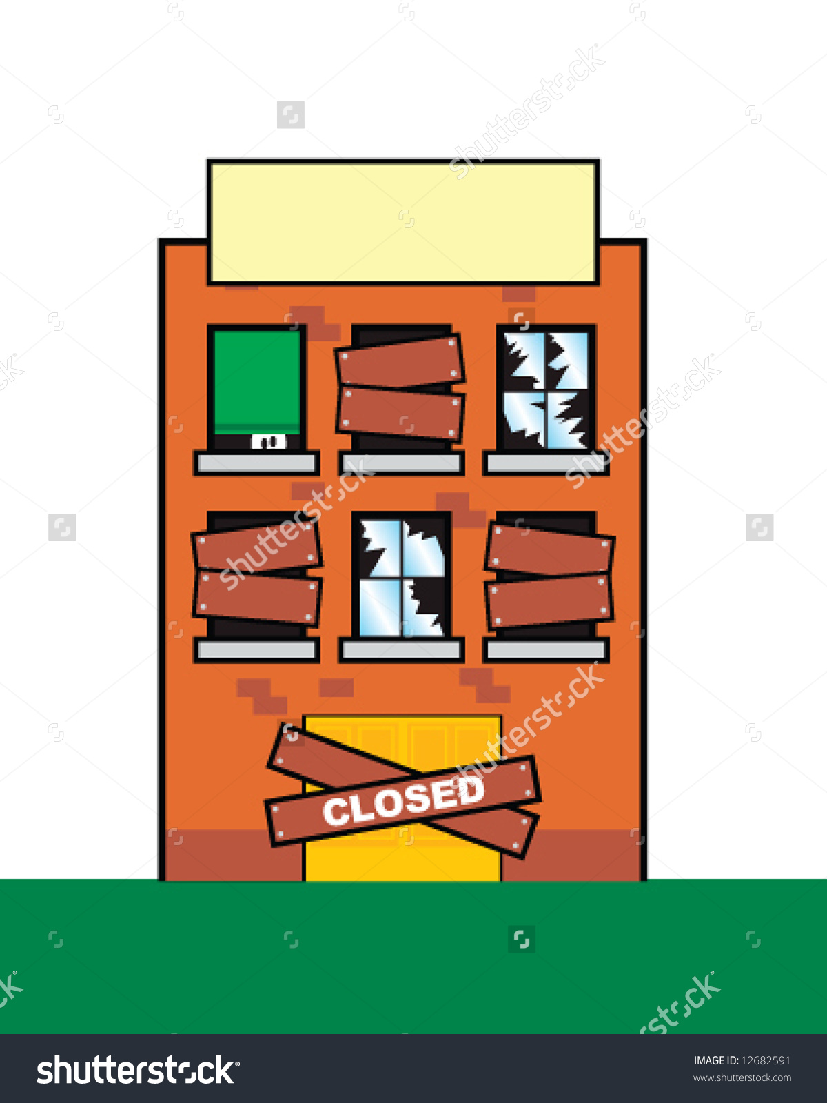 Vector Closed Rundown Building Concept Hard Stock Vector 12682591.