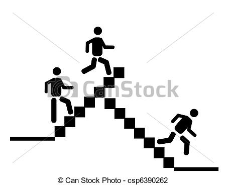 Vector Illustration of walking up and running down the sta.