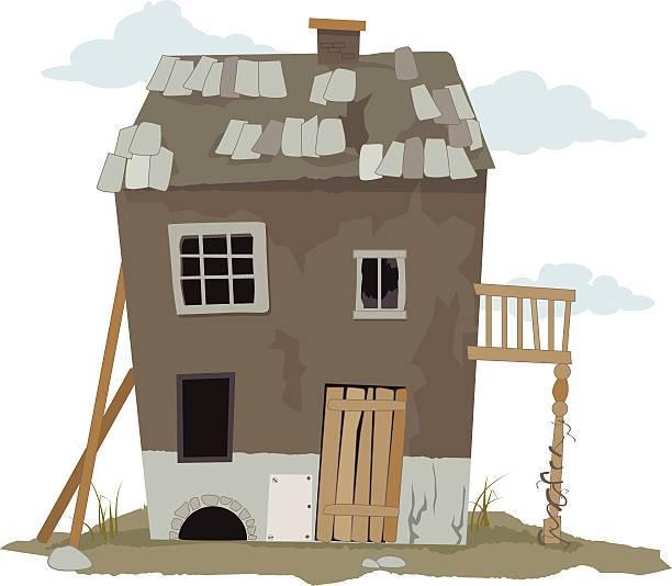 Small, run down, shanty house, vector illustration, ESP 8.
