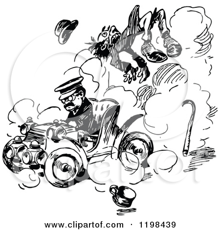 Clipart of a Black and White Vintage Driver Running over a.