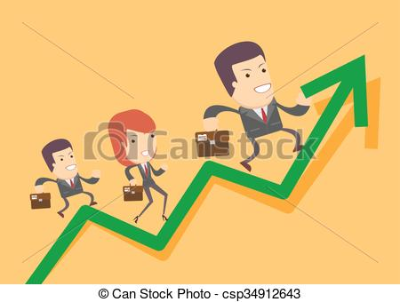 EPS Vector of Business people run up on the graph.