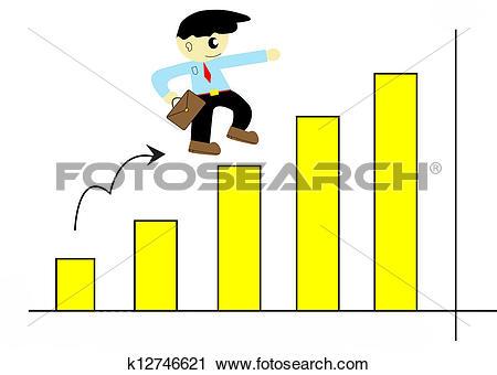 Clipart of illustration of cartoon cute businessman run up on.