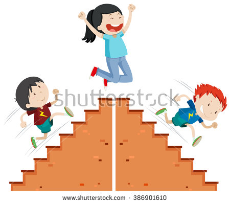 Clipart Kids Running Down Stairs.