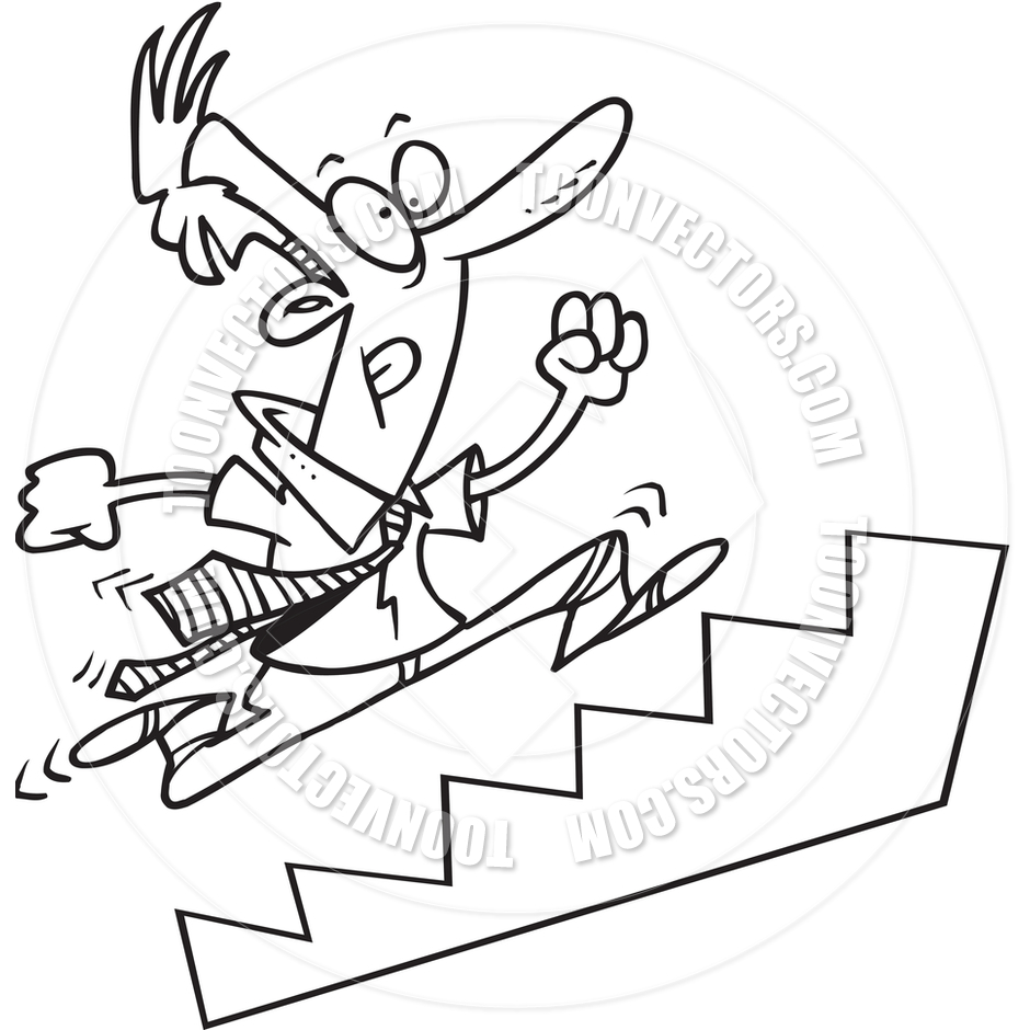 Running up stairs clipart.