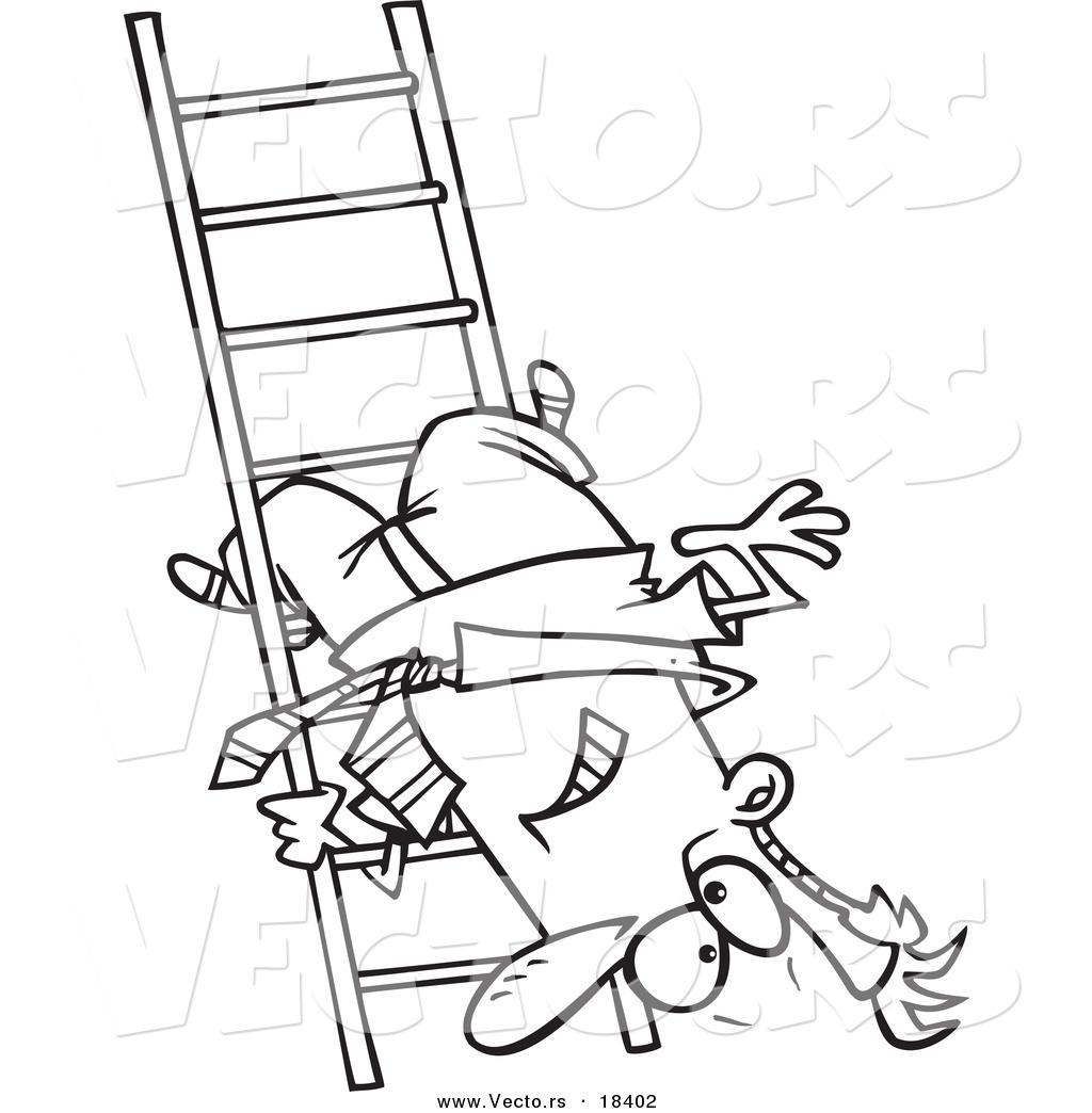 Vector of a Cartoon Businessman Upside down on a Ladder Rung.