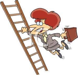 Picture: A Businesswoman Holding Onto a Ladder Rung.