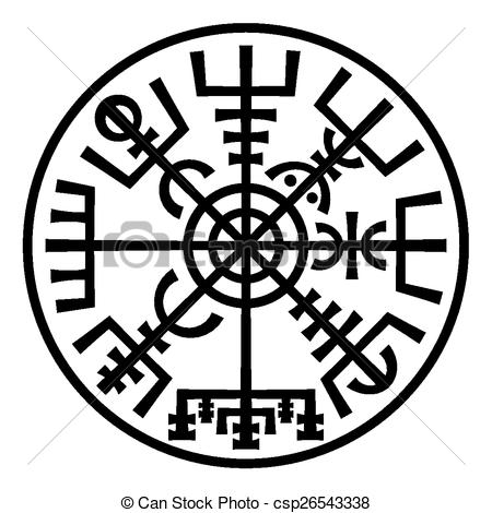 Vectors of Vegvisir. The Magic Compass of Vikings. Runic Talisman.