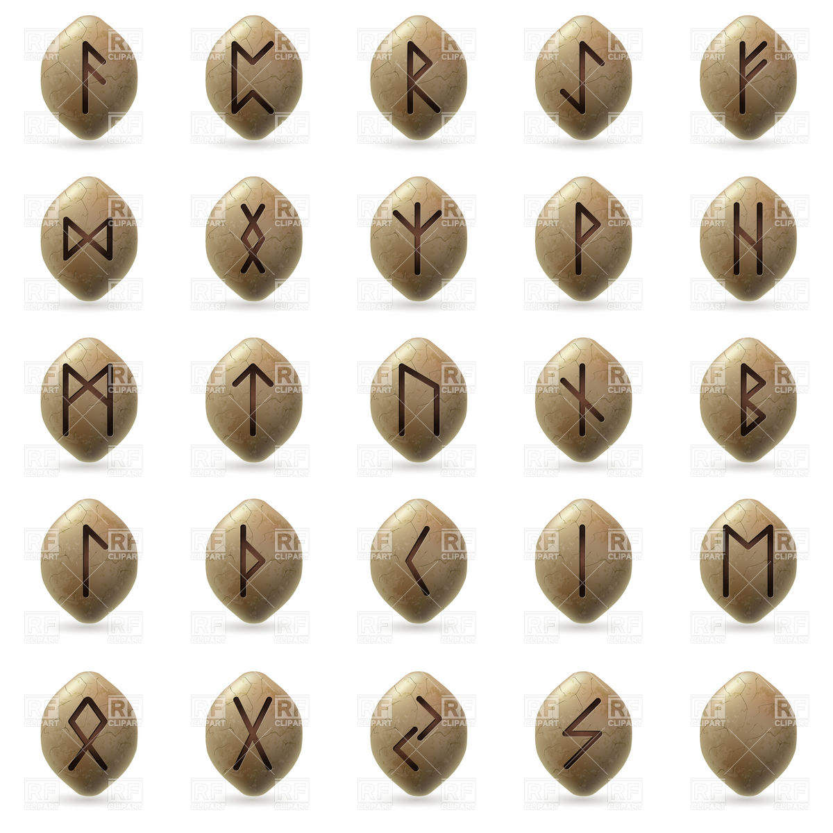 Runic stones with magical spell symbols Vector Image #8270.