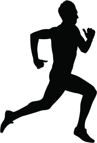 Running silhouettes. Vector illustration..