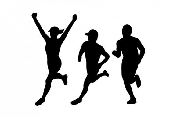 Marathon Runners Silhouette Collection Set.