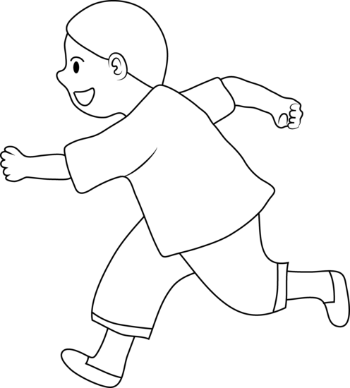 Free Boy Running Clipart Black And White, Download Free Clip.