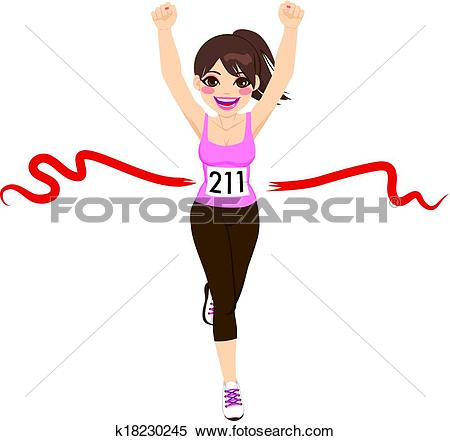 Clip Art of Runners crossing the finish line, illustration.