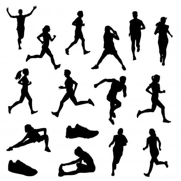 Runners street sport clip art silhouette vector Vector.