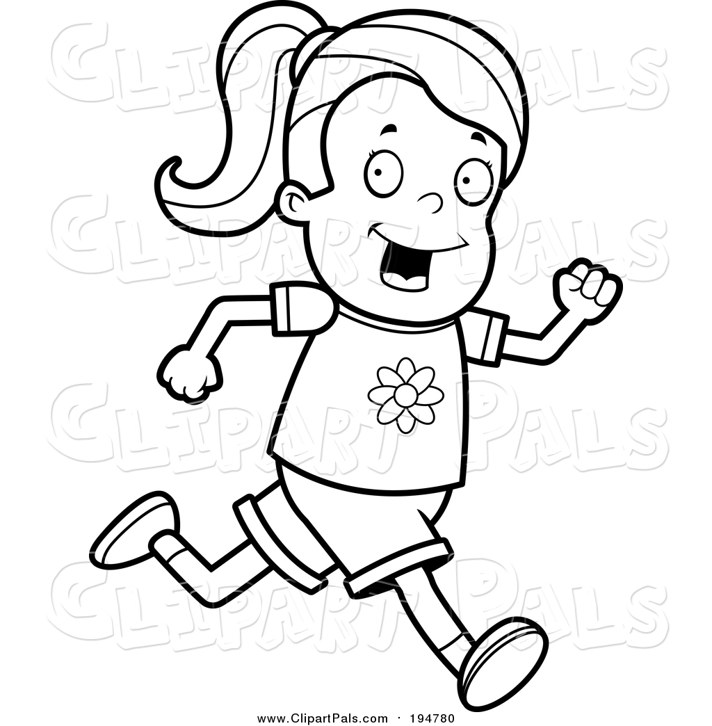 Runners clipart black and white.