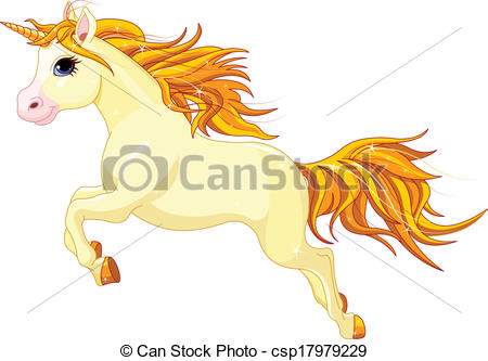 Vector Illustration of Running unicorn.