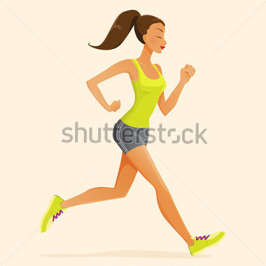 Black girl running track clipart.