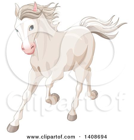 Clipart of a Beautiful White Horse Running.